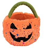 Halloween Trick-or-Treat Candy Bag - Plush Jack-O-Lantern Basket, Kids Pumpkin Bucket and Goodie Bag, Costume Party Decoration, Orange