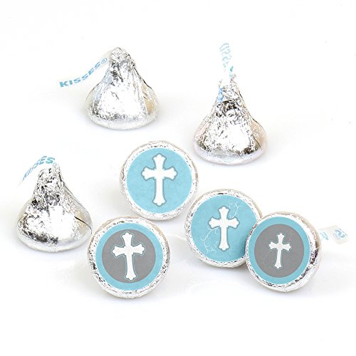 Little Miracle Boy Blue & Gray Cross - Baptism or BabyShower Round Candy Sticker Favors – Labels Fit Hershey's Kisses (1 sheet of 108) Baptism Chocolates