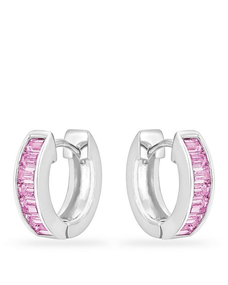 Genuine Rhodium Plated Hoop Earrings with a Channel Set Row of Emerald Cut Pink Ice Color Cubic Zirconia