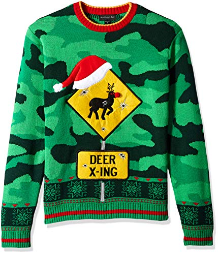 Blizzard Bay Men's Camo Deer Crossing Ugly Christmas Sweater, Large