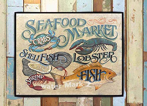- Seafood Market print from an original hand lettered Sign. Beach House Decor, Oysters, Fish, Shrimp, Crabs & Lobster