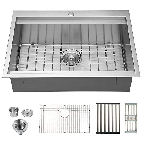 Logmey 30 Inch Ledge Drop-in Topmount  Kitchen Sink 18 Gauge Stainless Steel Kitchen - 30 Sink Inch