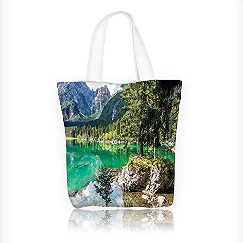Lagos Rope - Canvas Tote Bag Collection Landscape of Alpine Lake Laghi di Fusine with Forest on Rocks and Zipper Closure Grocery Shopping Bag Shoulder Bag for Women Girls Students W16.5xH14xD7 INCH