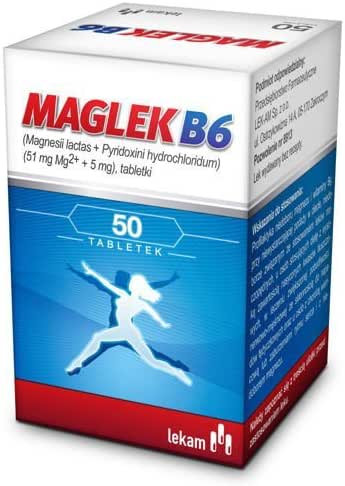 MAGLEK B6 - 50 tablets - Prevention of magnesium and Vitamin B6 deficiency: resulting from insufficient supply in the diet related to using diuretics in people using a diet rich in saturated fatty aci