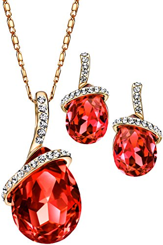 Neoglory Angle Rose Gold Teardrop Crystal Jewelry Set, Pendant Necklace, Earrings,18