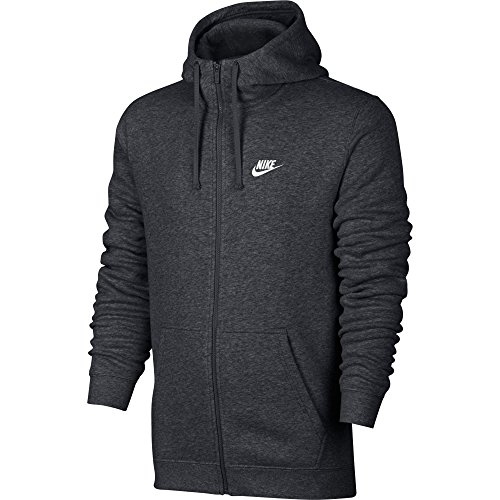 Nike Mens Sportswear Full Zip Club Hooded Sweatshirt Charcoal Heather/White 804389-071 Size 2X-Large