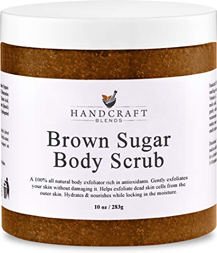 Brown Sugar Body Scrub - 100% All Natural - A Gentle Exfoliant Made with Real Brown Sugar Crystals - Gently Buffs Away Dry Skin Cells - Best Body Scrub for Cellulite, Stretch Marks, and Varicose Vein