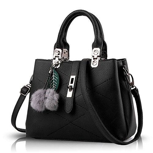 Handbags Black Handbag Diagonal Hair Tisdaini with New Bag Wallet Shoulder Tide Ball Simple Women 8HWSOqT