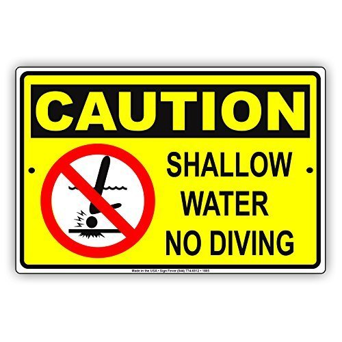 - Ballkleid Decorative Sign Caution Shallow Water No Diving With Graphic Safety Yard Fence Driveway Garage Street Sign