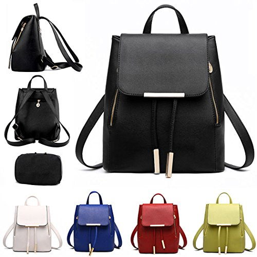 Bag Backpack Leather Women bag White Fashion Travel Rucksack PU Shoulder Girls Ladies fXBqOwS