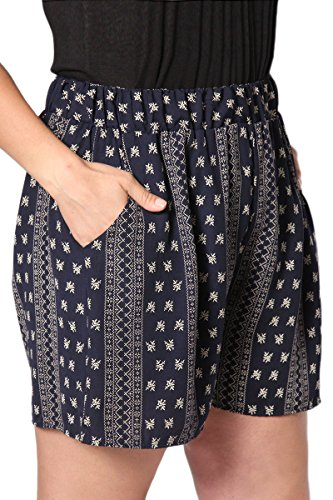 TheMogan Women's Border Print Smocked High Waist Summer Shorts Navy 3XL