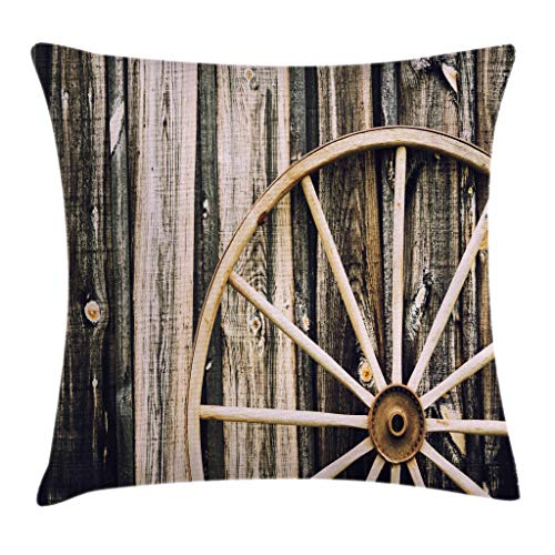 Ambesonne Barn Wood Wagon Wheel Throw Pillow Cushion Cover, Wooden Barn Door and Vintage Rusty Wheel Rustic Home Farm, Decorative Square Accent Pillow Case, 16 X 16 Inches, Black Light Brown -