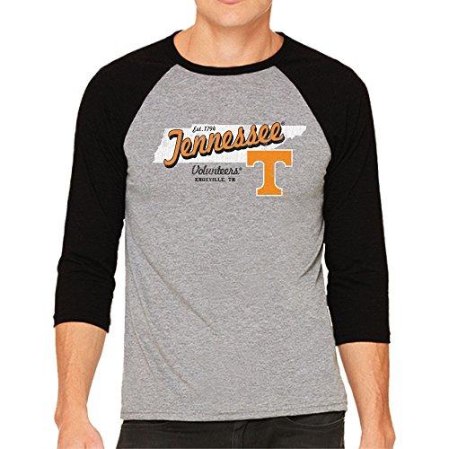 NCAA Tennessee Volunteers Men's 3/4 Baseball Tee, Small, Heather/Black ()