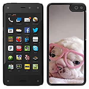 A-type Arte & diseño plástico duro Fundas Cover Cubre Hard Case Cover para Amazon Fire Phone (Puppy Pink Cute Sweet Heart Glasses)