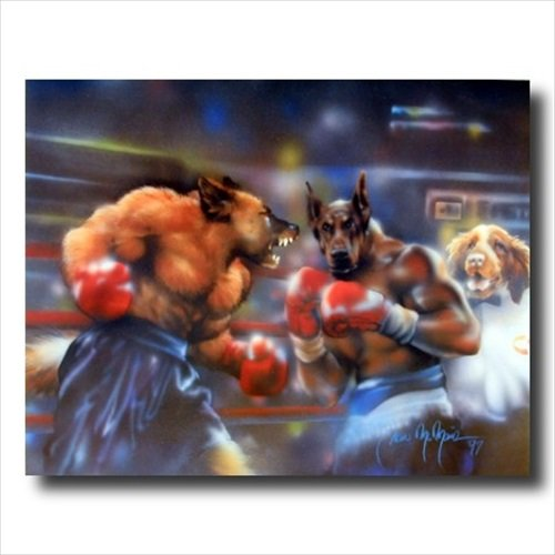 Dogs Boxing Match Kids Room Animal Wall Picture 16x20 Art -