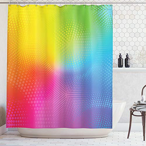 (Ambesonne Rainbow Shower Curtain, Vibrant Neon Colors Circles Rounds Dots Radiant Composition Iridescent Effect Print, Fabric Bathroom Decor Set with Hooks, 70 Inches, Rainbow Colors)