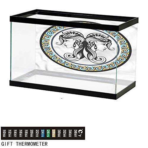 Suchashome Fish Tank Backdrop Zodiac Gemini,Antique Sisters,Aquarium Background,24