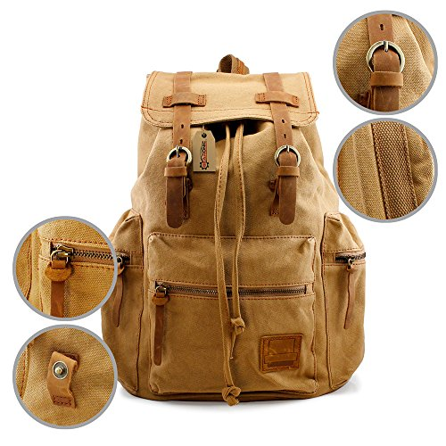 a904dd477ae7 GEARONIC TM 21L Vintage Canvas Backpack for Men Faux Leather Rucksack  Knapsack 15 inch Laptop Tote Satchel School Military Army Shoulder Rucksack  ...
