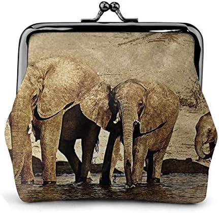 ホワイトサン がま口 財布 小銭入れ 象 動物 11.5cm×10.5cm×3cm レザー 小物入れ コインケース
