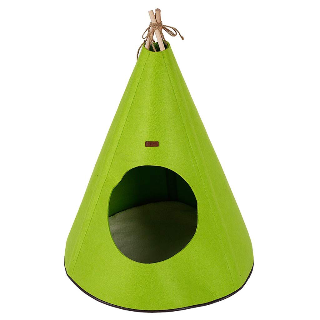 Green LITING Pet Tent Nest Kennel Cat Litter Yurt Garden Solid Wood Foldable Warm Cat House Dog House (color   Brown)