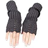 Novawo Women's Scale Design Winter Warm Knitted Long Arm Warmers Gloves Mittens (Dark Gray)