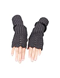 Novawo Women's Scale Design Winter Warm Knitted Long Arm Warmers Gloves