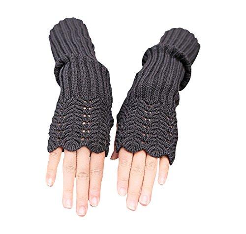 Acrylic Fingerless Gloves - Novawo Women's Scale Design Winter Warm Knitted Long Arm Warmers Gloves Mittens (Dark Gray)