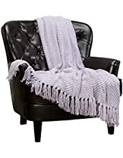 Chanasya Super Soft Textured Knitted Throw Blanket Warm Cozy Plush Lightweight Woven Blanket for Bed Sofa Chair Couch Cover Living Room Acrylic Blanket Accent Decor with Tassels Throw Blanket