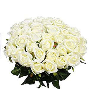 Veryhome Artificial Flowers Silk Roses Fake Bridal Wedding Bouquet for Home Garden Party Floral Decor 10 Pcs (White Straight stem) 51