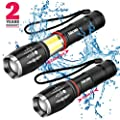 Hicoo 2 Pack Tictical Flashlights -Led Flashlight High Lumens - Zoomable Waterproof 6 Modes COB Work Light -T6 Super Bright - 18650 or AAA Battery - As Seen On Tv