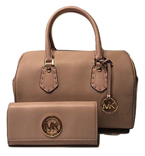 MICHAEL Michael Kors Aria MD Satchel bundled with Michael Kors Fulton Flap Wallet (Blossom) (Grayson Handbag Michael Kors)