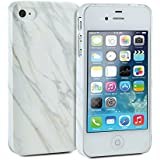 iPhone 5s Case, GMYLE Snap Cover Glossy for iPhone 5s - White Marble Pattern Slim Hard Back Case