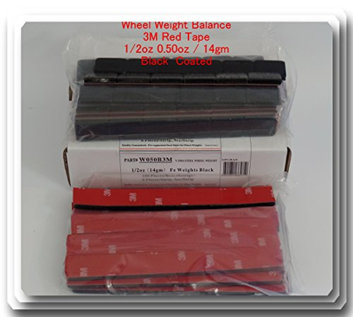 Tractor Wheel Weights (90 Pieces / 45 oz Stick on Wheel Weight Balance Black 0.50 oz 1/2oz Red 3M TAPE)