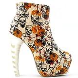 SHOW STORY Beige Skull Zip High-top Bone High Heel Hidden Platform Ankle Boots,LF40603BG39,8US,Beige