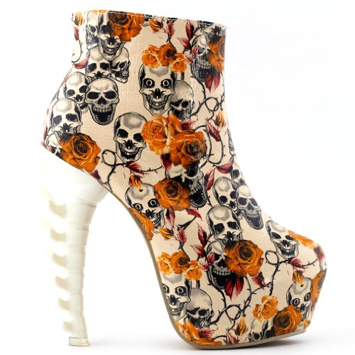 Platform High Zip LF40603 Beige Boots Bone Story top Ankle High Skull Show Heel Hidden nEwYq6zE