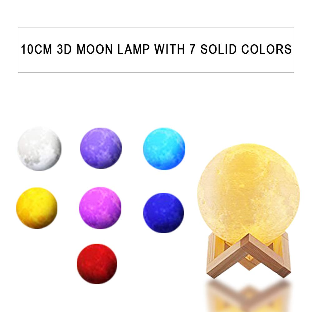 CoolKo Newest Night Light 10cm 3D Printed Lunar Moon Lamp, Rechargeable Home Decor White, Yellow & 7 Color Changing Mode, Dimmable Touch Control Brightness with Wooden Stand and Charging Cable
