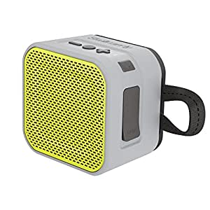 Skullcandy Barricade Mini Bluetooth Wireless Portable Speaker, Waterproof and Buoyant, Impact Resistant, 6-Hour Battery Life and 33 Foot Wireless Range, Gray/Hot Lime