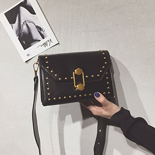Roscloud@ Ancho correa pequeña bolsa de remaches femeninos cerradura pequeña bolsa de hombro cuadrado bolsa de mensajero ( Color : Rojo ) Negro