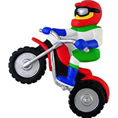 His offroad bike allows him to travel at high speeds and compete in motocross racing which can be a very dangerous sport. This personalized dirt bike rider ornament is an action shot of this exhilirating sport that has him or her cruising at ...