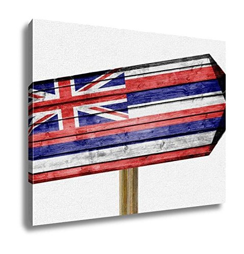 Ashley Canvas, Hawaii Flag Wooden Sign Isolated On White, Home Decoration Office, Ready to Hang, 20x25, AG6109921 by Ashley Canvas