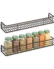 mDesign - Kruidenrek in 2-delige set - keukenorganizer - voor kruiden, specerijen, potjes en ander voedsel - wandmodel