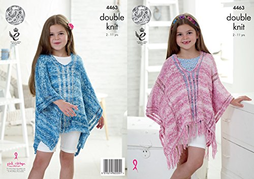 King Cole Girls Kids Double Knitting Pattern Lace Effect Ponchos with Tassels Vogue DK (4463)