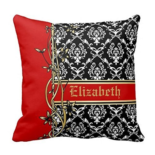 Price comparison product image KarilShop Black White Red Damask Pattern Gold Floral Linen Throw Pillow Case Cushion Cover Home Sofa Decorative 18 X 18 Inch.