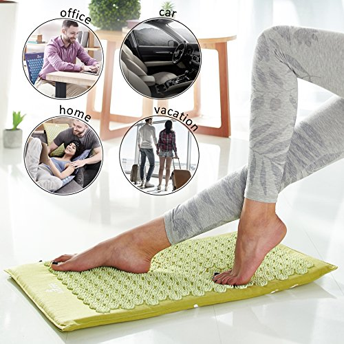 New Version Professional Acupressure Mat and Pillow Set Natural Linen – Best Acupuncture Mat Gift – Back and Neck Pain Relief Reflexology Mat – for Women and Men - Stress and Muscle Relief (Green) by Artree (Image #4)