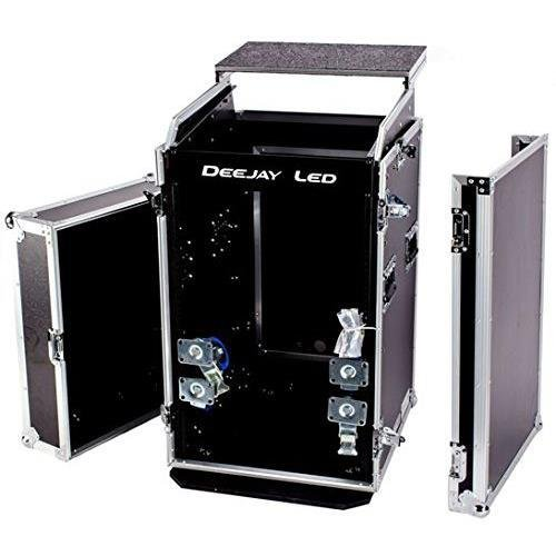 Deejay LED 11U Space Slant Mixer Rack Case with Wheels / 16U Space Vertical Rack Accessories and 17'' Laptop PC Shelf