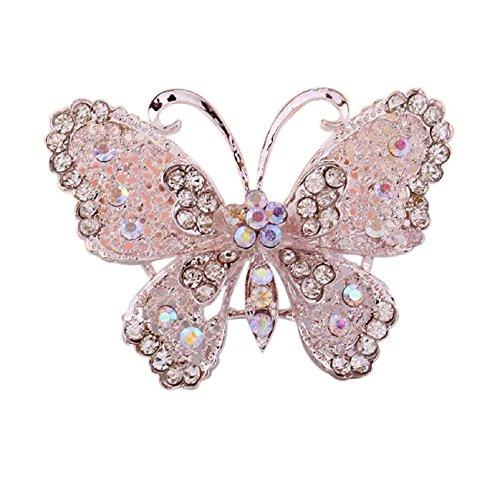 Tonsee Fashion Openwork Hollow Women Diamond Butterfly Brooch Corsage Jewelry