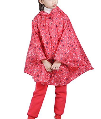 Suplove Lovely children Lightweight Breathable Waterproof Raincoat Poncho (Red, S)