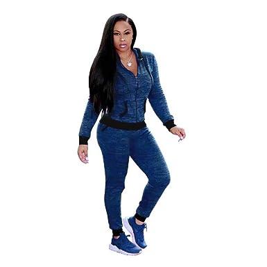 Women 2 Piece Set Outfits Hoodie Long Sleeve Zip Jacket Sport Pants Sweat  Suits Tracksuits Blue ef174d5d49
