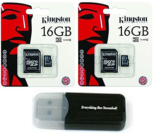2 Pack of Kingston 16GB MicroSD HC Class 4 TF MicroSDHC with SD Adapter TransFlash Memory Card SDC16/GB 16G 16 GB Gigs (Lot of 2) with Everything But Stromboli Memory Card Reader R
