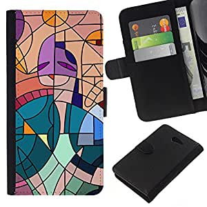 All Phone Most Case / Oferta Especial Cáscara Funda de cuero Monedero Cubierta de proteccion Caso / Wallet Case for Sony Xperia M2 // Cubism Painting Teal Artist Pink Woman